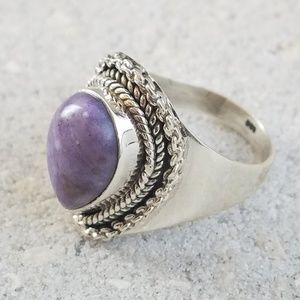 Jewelry - Purple Tiffany Stone Sterling Silver Ring size 8
